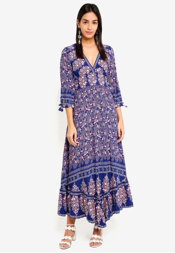 INDIKAH blue 3/4 Sleeve Floral Maxi Dress D687EAA7795199GS_1