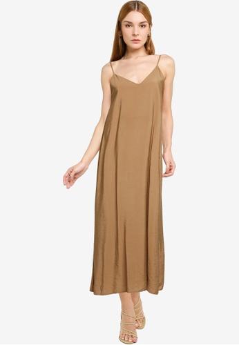 LOWRYS FARM brown Flowy Slip Midi Dress 8B8E7AA1EF9D9DGS_1