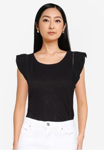 Springfield black Pleated Flounced Shoulder T-Shirt 1226FAAADBCAADGS_1