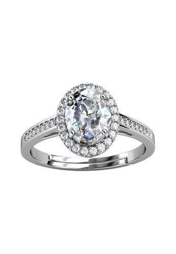 Her Jewellery silver CELÈSTA Moissanite Diamond - La Reine Ring (925 Silver with 18K White Gold Plating) by Her Jewellery 7DF4EAC1DA63CAGS_1