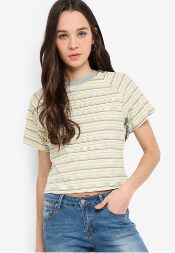 Something Borrowed 多色 短袖條紋短版T恤 37FA5AAEC4876CGS_1