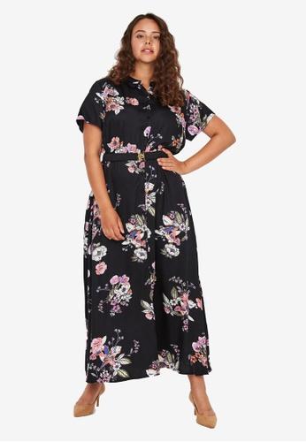Vero Moda 黑色 大尺碼 Lovely 短袖Maxi 襯衫洋裝 5C9B8AA7FE7029GS_1
