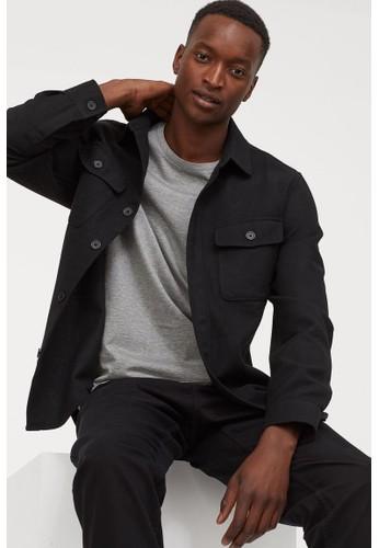 H&M black Twill shirt jacket 5BA6CAAB314B2AGS_1