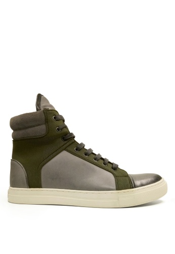 Kenneth Cole New York grey and green DOUBLE HEADER - High Top Sneaker KE615SH0SAQEMY_1