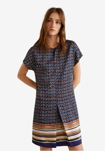 Mango blue Contrasting Print Dress D49ADAA54D9256GS_1