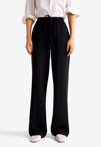 Mango black Flowy Straight-Fit Trousers E6219AA277E6D2GS_1