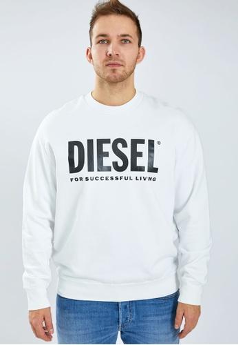 Diesel 白色 S-CREW-DIVISION-LOGO FELPA Sweatshirt D41ABAA7F453C8GS_1