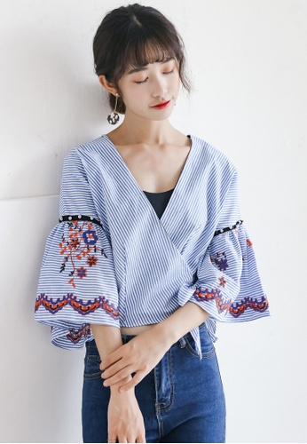 Shopsfashion blue Embroidery Wrapped Blouse SH656AA0G4VTSG_1