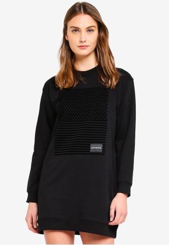 Calvin Klein black A Graphic Sweatshirt Dress E11AEAAAF6C254GS_1