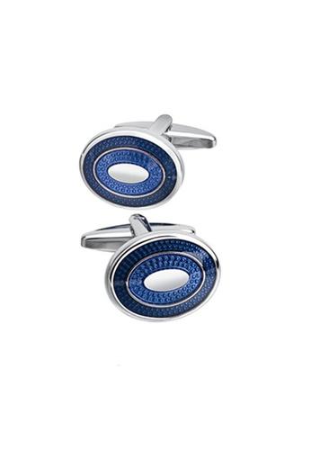 Kings Collection blue Oval Blue Cufflinks (KC20340) F29BEAC81D269CGS_1