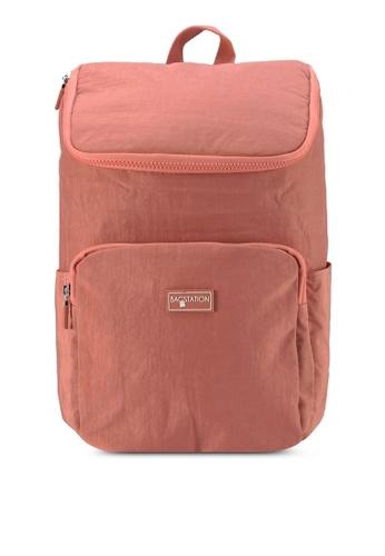 Bagstationz pink Crinkled Nylon Backpack F3EB3AC18370EAGS_1