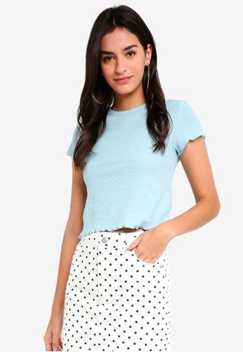 TOPSHOP blue Short Sleeve Waffle T-Shirt 8630AAA95C488CGS_1