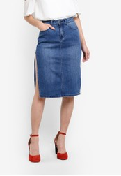 Something Borrowed blue Highrise High Slit Pencil Skirt 59A0BZZD4C24D5GS_1