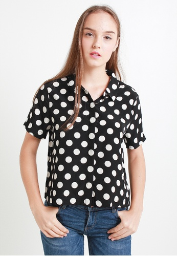 Leline Style black and white Chanton Polka Blouse LE802AA50VYZSG_1
