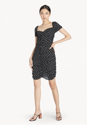Pomelo black Polka Dot Ruched Sweetheart Dress - Black 64CD2AA34D5C5CGS_1