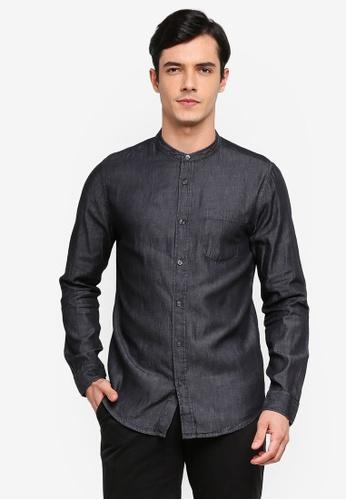 Burton Menswear London 灰色 Dark Grey Long Sleeve Grandad Denim Shirt A96B7AA4D2035DGS_1