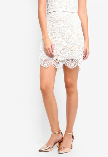 Something Borrowed white Lace Slit Mini Skirt 036C1AA4392DC4GS_1