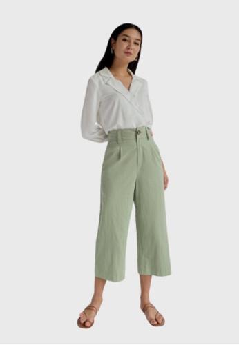 Love, Bonito green Althea Wide Leg Cropped Pants 30682AA4D4FD10GS_1