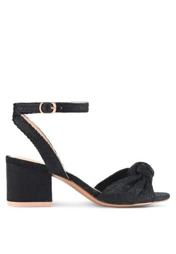 Something Borrowed black Textured Ankle Strap Heels DE7F6SH1E925DDGS_1