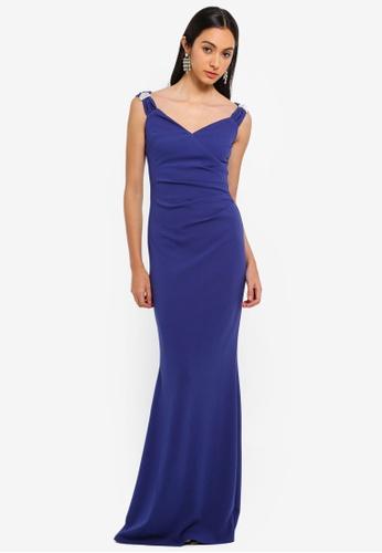Goddiva blue Shoulder Detailed Maxi Dress 4FA45AAD4EAD79GS_1