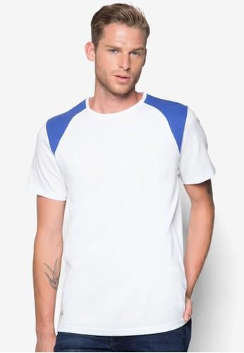 zalora taiwan 時尚購物網鞋子色塊拼肩T 恤, 服飾, T恤