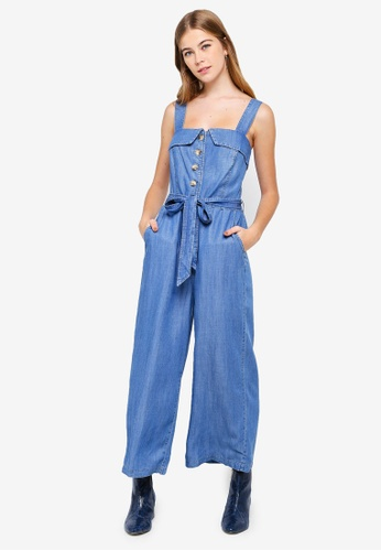 f6c3810095a3 Buy Forever New Renee Button Front Denim Jumpsuit Online on ZALORA Singapore
