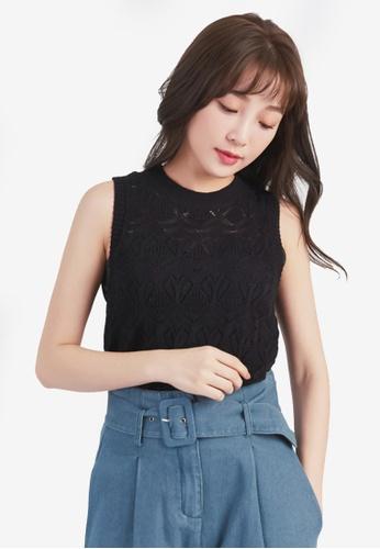 YOCO black Knit Cut-Out Vest Top DF063AAD46166CGS_1