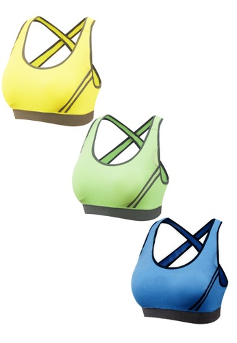 YSoCool yellow and green and blue 3 Pcs Set Seamless Cross Back Padded Yoga Bras 70C89US25682A3GS_1