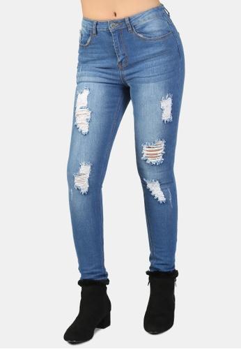 London Rag blue Skinny Fit Distressed Jeans B7070AA76B5520GS_1