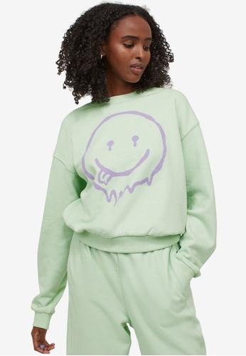 H&M green and multi Sweatshirt 3E49FAAE668445GS_1