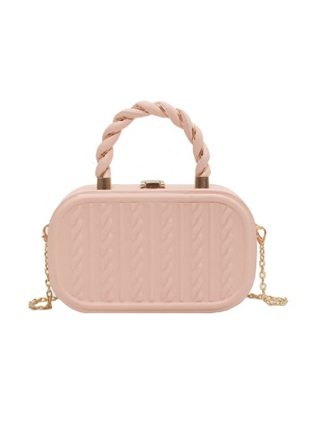 Lara pink Women's Embossed Leather Chain Cross-body Bag Handbag - Pink 5BE5FAC406B6A4GS_1
