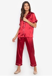 FEMINISM red Shortsleeve Pajama Set 131CEAA245BA87GS_1