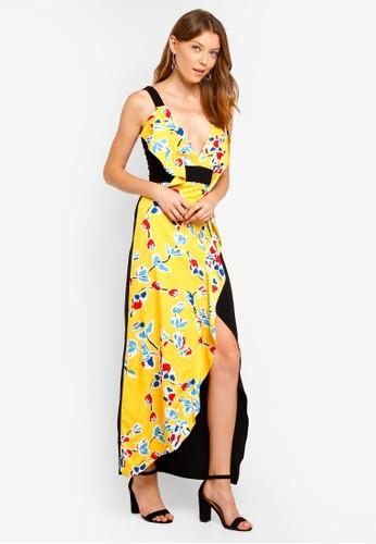 Lavish Alice yellow Frill Detail Contrast Colour Maxi Dress C85A6AADEC1BBEGS_1