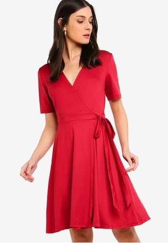 ZALORA pink Short Sleeves Wrap Dress 9370FAA20216D9GS_1