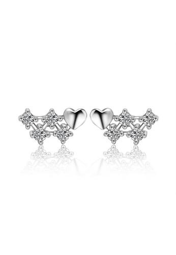 LYCKA silver LFF5213-LYCKA-S925 Siliver White Zircon Romantic Hearts Earrings-Silver E25D8ACF23E7A1GS_1