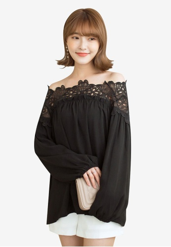 Tokichoi black Lace Hem Off Shoulder Top E9DD8AAF351BBFGS_1