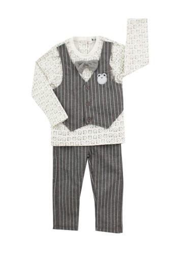 Mini Zo white and grey Fabian Baby Set Grey CC929KA5EA3DFDGS_1