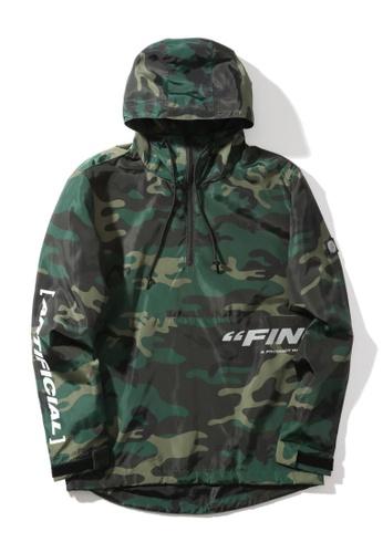 "Fingercroxx green ""Artificial"" reflective print camo anorak jacket 73F45AA027D19DGS_1"