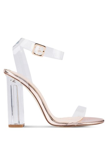 Alia 透zalora 男鞋 評價明繞踝帶鏤空亮飾高跟鞋, 女鞋, 鞋