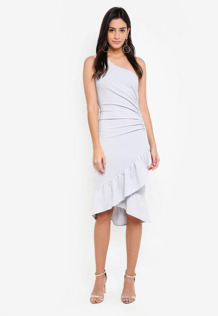 Silver Midi Paris AX Asymmetric Dress 0ZqqA