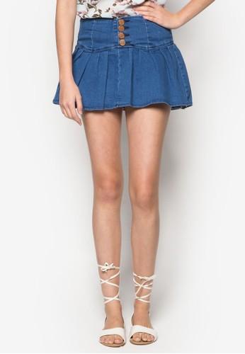 荷葉擺丹寧短zalora 鞋評價裙, 服飾, 裙子