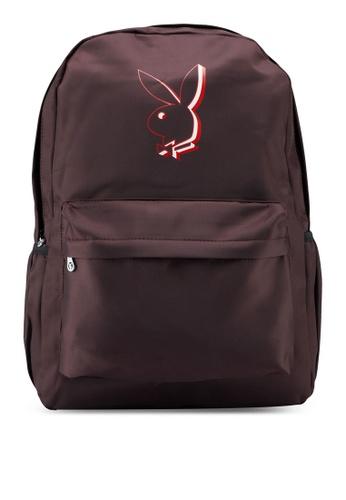 Playboy brown Printed Backpack 085EFAC74279ECGS_1
