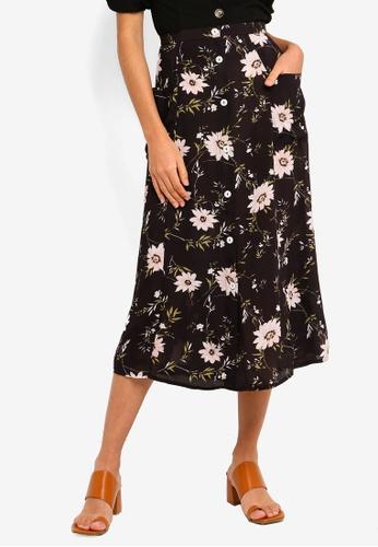 0ef5815198c4f5 Miss Selfridge black Black Floral Print Midi Skirt 810B1AABCC5F5FGS_1