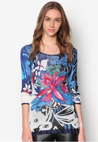 抽象印花針織長袖zalora 包包評價衫, 服飾, 服飾