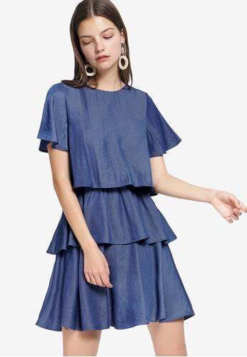 Saturday Club blue Cascading Dress CA2BEAAA609EB6GS_1