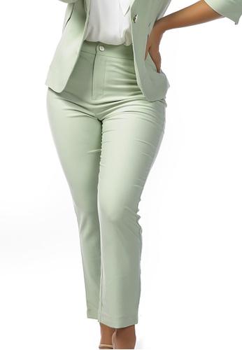 London Rag green Pastel Green Straight Fall Trousers 7E35EAA7ACC84BGS_1