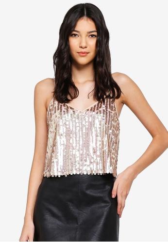 Miss Selfridge pink Pink Sequin Camisole Top 7FBFAAAC8DC380GS_1