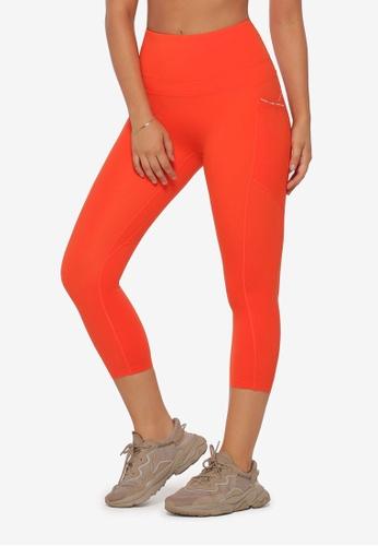 Lorna Jane orange No Ride Booty Pocket 7/8 Leggings E146CAA55D3B19GS_1