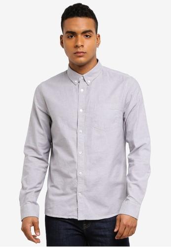 Burton Menswear London 灰色 長袖牛津襯衫 45604AAD5ED6DFGS_1