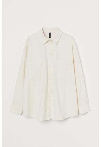 H&M white Oversized corduroy shirt C0984AAE76D81EGS_1